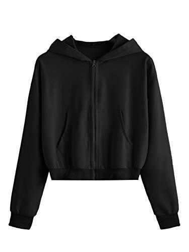 DIDK Damen Sweatjacke Bauchfrei Kapuzenpullover Langarm Kurz Hoodie Sweatshirt Crop Pullover Kapuzenjacke Cropped Jacke mit Taschen und Zip Schwarz M