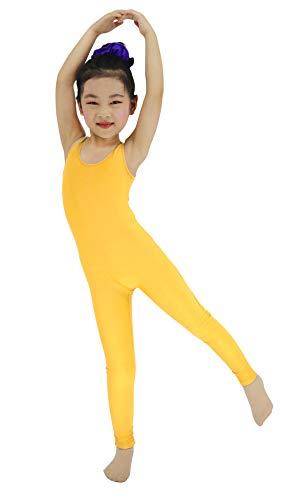 Stretchy Sleeveless Unitards for Kids Girls Dance Ballet Gymnastics One-piece Spandex Leotards ,Yellow, XL