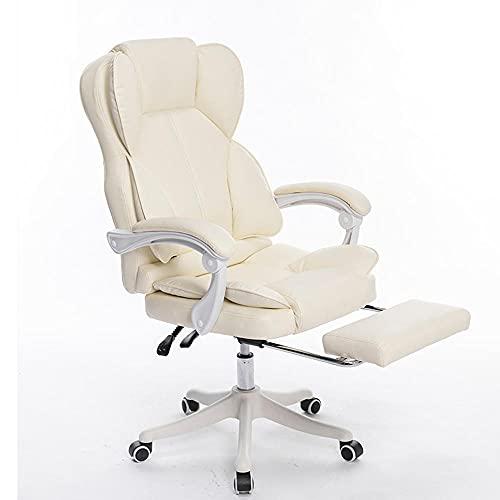 Komfortable Liege, Rückenlehne Bürostuhl, bequemer sesshafter, ergonomischer Stuhl, Freizeit-E-Sports-Drehstuhl-Beige