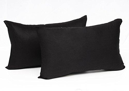WOLTU® KB5148szQ2, 2X Kissenbezug Kissenhülle 100% Baumwolle mit Reissverschluss, 2er Set Sofakissen Dekokissen Kissen Bezug, Kopfkissen Hülle Bezüge Doppelpack, 30x50 cm, Schwarz