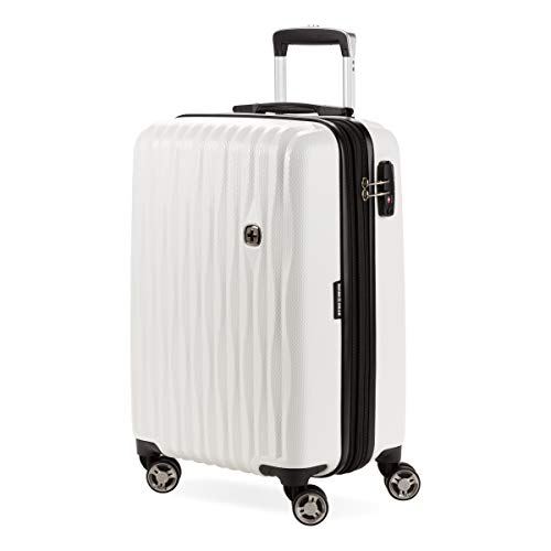 SwissGear 7272 Energie Hardside Expandable Luggage with Spinner Wheels, White, Carry-On 19-Inch