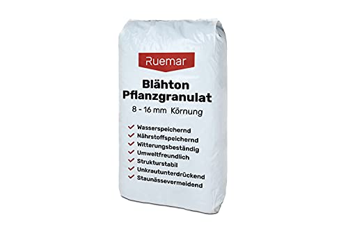 Blähton für Pflanzen Tongranulat 8-16 mm Körnung 50l Beutel Hydrokultursubstrat für Pflanzkästen Kübel Pflanztöpfe Drainagematerial Blähton 50l Sack