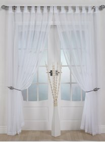 The Textile House Woven Voile Tab Top Panel. Buy One Panel Get One Free. Finished in White. 58' Wide x 63' Drop