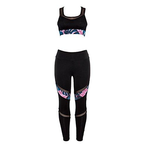 Mooyii Bekleidung Yoga Set, Trainingsanzug Damen Sportanzug Frauen Yoga BH + Leggins 2 Teilig Fitness Anzüge Joggeranzug Sportswear Bekleidungssets Elastizität Kleidung Sets 34-36