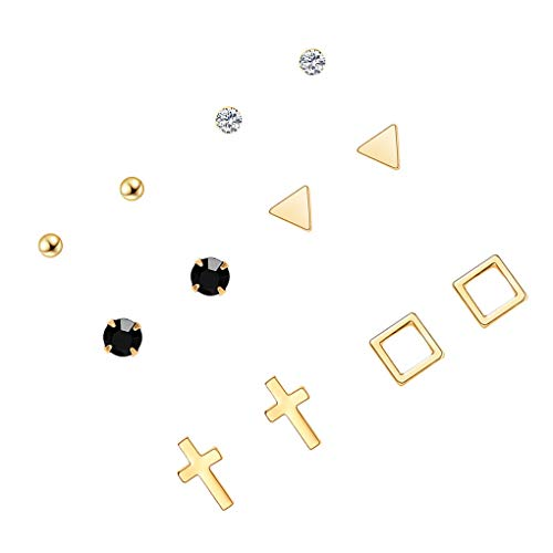 Guangcailun Women Girls Earrings Set 6 Pairs Female Lady Ear Jewelry Kit Crystal Bar Square Triangular Earrings