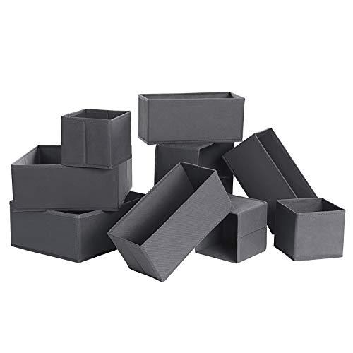 SONGMICS Divisor para cajones,  organizador para armario,  juego de 9 cajas de almacenamiento plegables de TNT,  para calcetines,  ropa interior,  sujetadores,  corbatas,  bufandas,  color gris RDZ09G