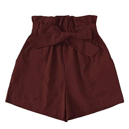 Xmiral Shorts Damen Hot Pants Baggy Latzhose mit Tasche Gürtel Elastische Hohe Taille Freizeit Relaxed Turnhose Sporthose Jogginghose(Braun,M)
