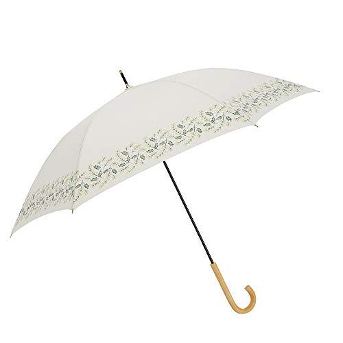 小川(Ogawa) 長傘 雨晴兼用雨傘 手開き 58cm 6本骨 tenoé/Natural ミモザのブーケ UV加工 鳥型飾りボタン付き 92000