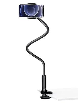 Brazo flexible de cuello de cisne: Este es un soporte para teléfono Móvil que es muy útil en su oficina y hogar. Por ejemplo, mesitas de noche, cabeceros, escritorios, etc. Con el soporte de clip giratorio de 360 grados y el brazo flexible de cuell...