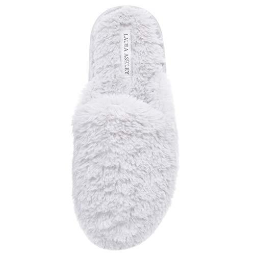 Laura Ashley Womens All Plush Memory Foam Scuff Slippers Light Grey Medium