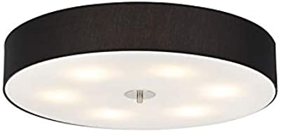 Qazqa - Country Ceiling Lamp   Ceiling Flush Light Black 70 cm - Drum - Modern - Suitable for LED E27   6 Light - Fabric Ceiling Light - Suitable for Living Room   Kitchen   Bedroom  