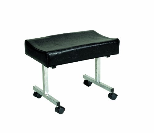 Homecraft Cardiff Adjustable Height Footstool with Castors, Adjustable Footrest for Home and Office, Angle and Tilting Adjustments, Comfortable Padded Vinyl Leg Rest, Non-Slip Rubber Feet