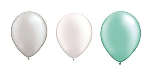 DeCoArt... Set 60 Luftballons Pastell perl Silber, perl weiß und perl Mint je 20 ca. 28 cm und 60 Ballonverschlüsse Polyband weiß sowie EIN Aufblasventil sowie Infoblatt