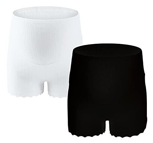 SEAUR 2 piezas ropa interior de maternidad suave algodón suave maternidad bragas boxeador calzoncillos para mujeres embarazadas parto apoyo vientre blanco L