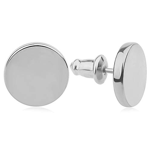 Good.Designs Damen Ohrstecker (Edelstahl) Ohrringe mit flachem Plättchen (Silber) silberschmuck Silberne silberfarben Silver versilbert