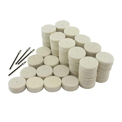 Luo ke 50 Pcs 25mm Wool Felt Polishing Pads Buffing Wheel Grinding Pad + 4Pcs 3.15 mm Shank For Dremel Rotary Tools