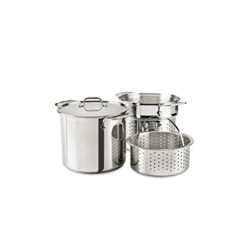 All-Clad Stainless Steel Multicooker with Perforated Steel Insert and Steamer Basket, 8-Quart, Silver