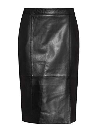 Alba Moda Damen Lederrock Schwarz 40 Leder