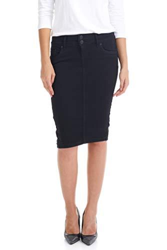 ESTEEZ Soft Denim Skirt Knee Length Jean Pencil Beverly Hills Black 18