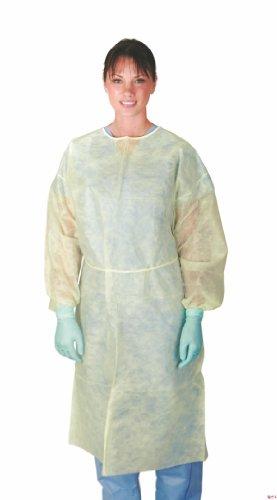 Medline CRI4000 Polypropylene Isolation Gowns, Latex Free, Regular Large, Yellow (Pack of 50)