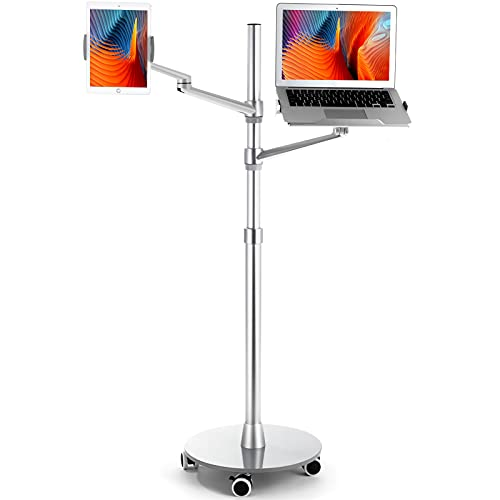 viozon Tablet and Laptop Floor Stand, 2-in-1 Rolling Adjustable Dual arm, Compatible with 4.5~13'' Phone and Tablet Compatible with iPhone, iPad Pro, iPad, Extra Tray Fits 12 to 17'' Laptop/Notebook(S