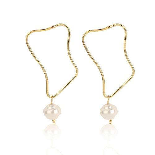 HTGL Pendientes De Perlas De Agua Dulce Naturales De ImitacióN Vintage, Pendientes AsiméTricos Simples En Forma De Perla, Pendientes De Mujer, 8 Estilos