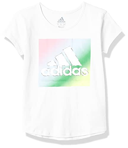 adidas Girls' Short Sleeve Scoop Neck Tee T-Shirt, White Multi, 3T