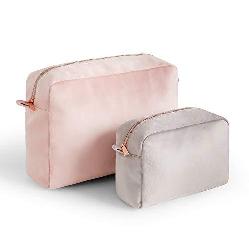 Beautify 2er-Set Samt Kosmetik-Taschen - Make-up Tasche - Reisen - Tragbar - Eitelkeit - Schönheit - Toilettenartikel - Pink & Grau - Reißverschluss - Geschenk