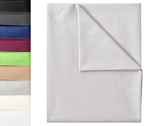 GREEN MARK Textilien Klassische Bettlaken | Betttuch | Laken | Leintuch | Haustuch 100% Baumwolle ohne Gummizug vielen Größen und Farben Größe: 240x275 cm, Silber grau