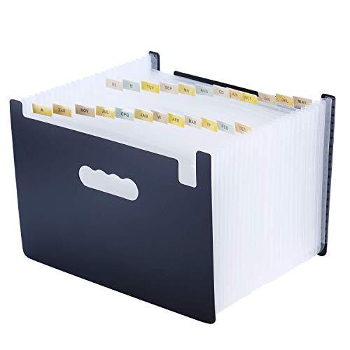 Carpeta Oficina A4 Acordeon Organizador de Archivos Soporta Hasta 3000 Hojas Impermeables con 24 Bolsillos y Mango Plastico para Oficina Escolares Viaje Hogar Blanco