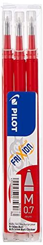 Pilot - Set de 3 Recambios para Frixion Ball y Clicker, punto medio - Rojo