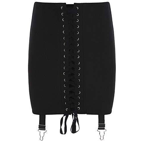 La última JIEZuoFang sexy mujeres encaje hasta cintura alta delgado negro falda 2020 nueva Clubwear mini falda femenina estilo gótico hebilla de moda