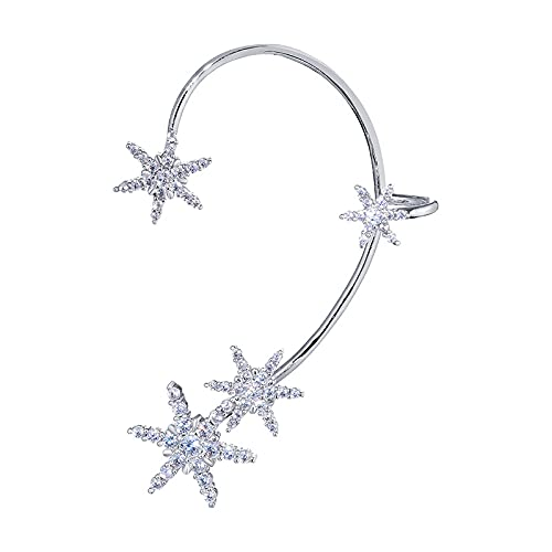 Sin clip de oreja perforada gancho de oreja de copo de nieve femenino oreja completa pendientes de clip de hueso de oreja de moda de lujo