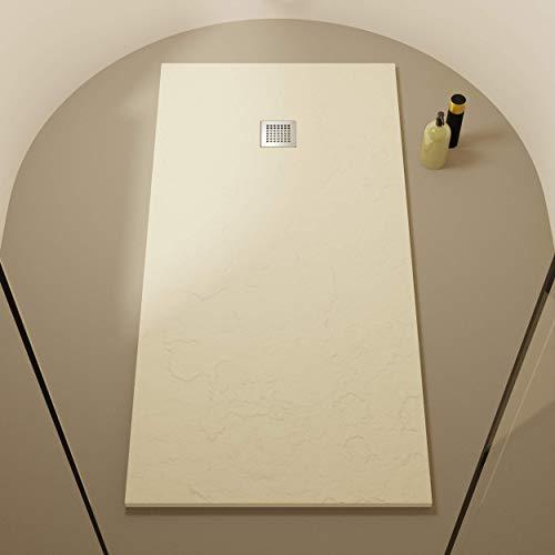 Piatto doccia in resina Egeo - Effetto ardesia e antiscivolo - Finitura opaca - Disponibile in tutte le dimensioni - Include sifone e griglia - Beige RAL 1013-70 x 100
