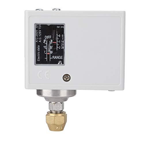 Changor Druckregelschalter, korrosiver mittlerer Balg Phosphor Standard Druckregler für Wasserpumpe mit Edelstahl, Eisen vernickelt, Kunststoff