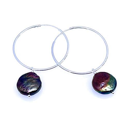 Pendientes creoles de plata 925 y perlas negras naturales, joyas con piedras naturales, estilo minimalista, regalo para mujer