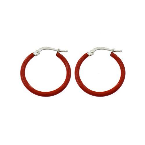 Ohrringe Kreolen Emaille Rot mit Schnapper in Silber 925Vergoldet Gold Weiß