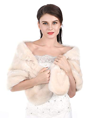 Aukmla Women's Brown Faux Fur Shawl Wedding Fur Wraps and Shawls Bridal Fur Stoles Scarf with Rhinestones Brooch for Bride and Bridesmaids (Ivory)