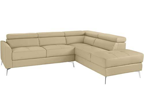 Loft24 A/S 5-Sitzer Sofa L-Form Couch Ecksofa Polsterecke mit Recamiere Leder Metallbeine (Creme Recamiere rechts, Lederimitat)