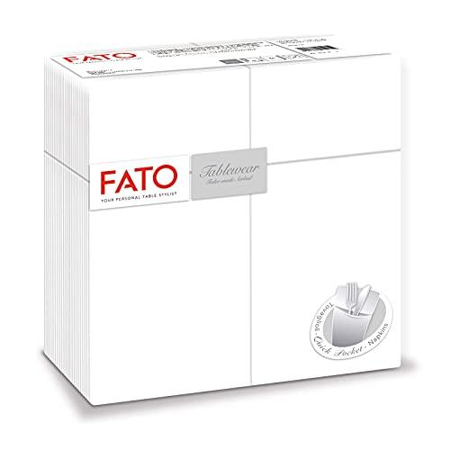 Fato - Servilletas de Papel de Material Airlaid Efecto Tela con Solapa para Cubiertos Paquete de 50 Servilletas, Tamaño 40x40, Color Blanco