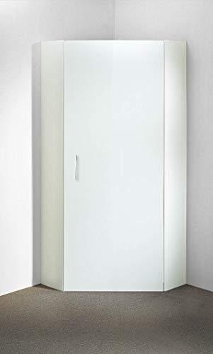 lifestyle4living Eckschrank in weiß mit viel Stauraum, Kleiderschrank mit 1 Tür und 5 verstellbaren Böden, Stauraumschrank B/H/T ca. 80/185/80 cm