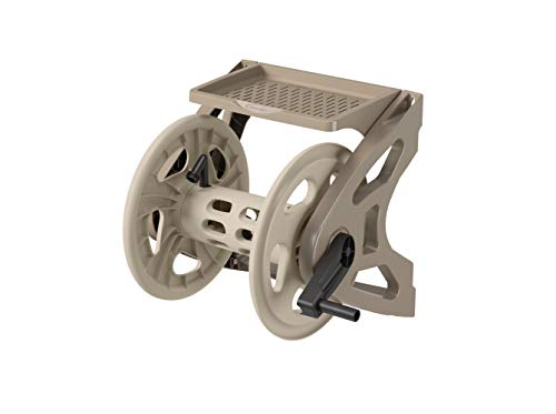 Suncast Resin Wall Mounted Handler Hose Reel with Crank Handle and Storage Tray, Taupe