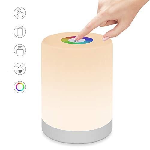 LED Nachttischlampe Touch Dimmbar, Swonuk LED-Nachtlicht USB Aufladbar LED Nachttischlampe Schreibtischlampe RGB Farbwechsel-Modi LED Nachtlicht für Kinder, Schlafzimmer, Camping