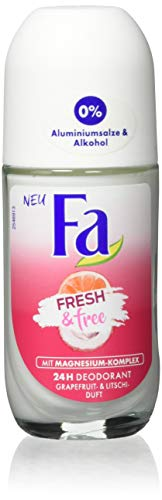 Fa Deo Roll-on Fresh & Free Grapefruit- & Litschi-Duft ohne Aluminium und Alkohol, 6er Pack (6 x 50 ml)