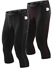 Runhit 3/4 Compression Pants Men with Pockets,Workout Athletic Tights Leggings