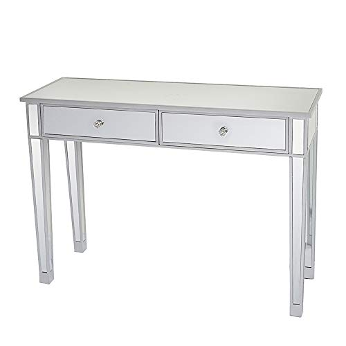 Table Console, Table en Verre Miroir avec 2 tiroirs, Table d'Apoint Bureau, Table Salon, 105 x 36 x 76 cm