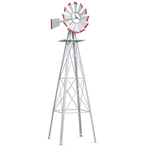 Tangkula 8FT Windmill Yard Garden Metal Ornamental Wind Mill Weather Vane Weather Resistant (Grey)
