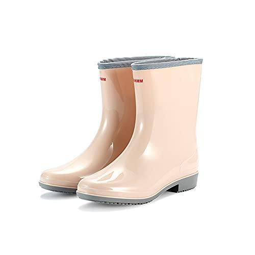 Botas de Lluvia Mujer, Impermeable Zapatos de Lluvia a Media Pierna, Antideslizante Jardín Wellington Boots