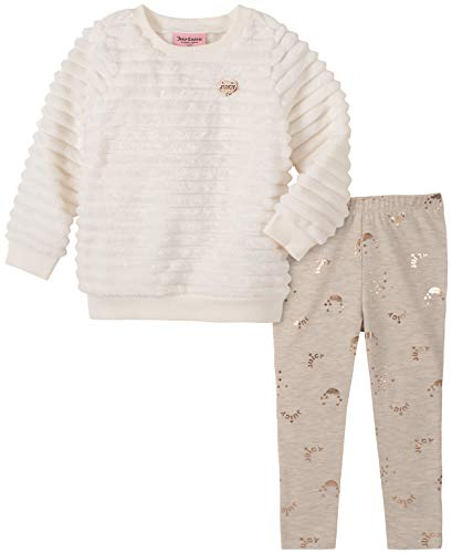 Juicy Couture Girls' 2 Pieces Sweater Legging Set, White/Print, 6X