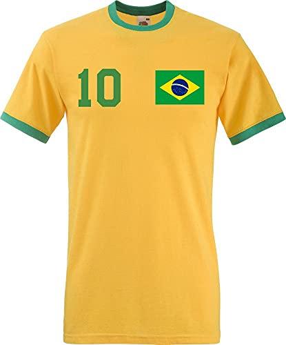 Youth Designz Maglietta da uomo Brasile con nome e numero a scelta verde/giallo M